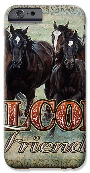Welcome Friends Horses iPhone Case by JQ Licensing