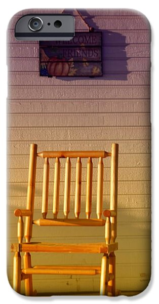 Rocking Chairs Photographs iPhone Cases - Welcome Friends iPhone Case by Jeff  Swan