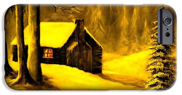 Cabin Window Paintings iPhone Cases - Welcome Home iPhone Case by Hazel Holland