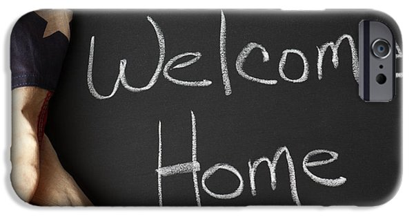 Stripes iPhone Cases - Welcome Home Sign on Chalkbaord iPhone Case by Leslie Banks