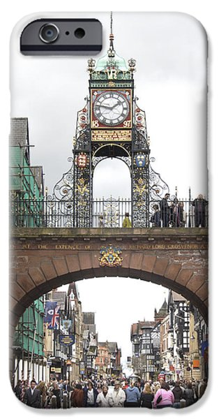 Clock iPhone Cases - Welcome to Chester iPhone Case by Mike McGlothlen
