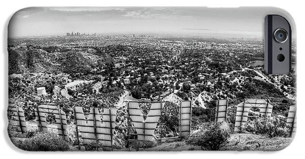 Success Photographs iPhone Cases - Welcome to Hollywood - BW iPhone Case by Natasha Bishop