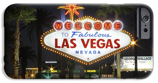 Night Time iPhone Cases - Welcome to Las Vegas iPhone Case by Mike McGlothlen