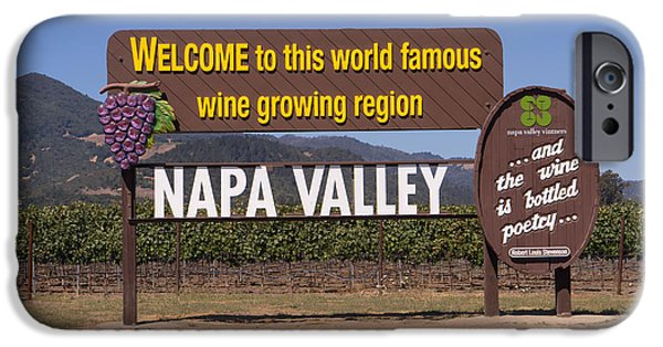Vineyard In Napa iPhone Cases - Welcome To Napa Valley California DSC1681 iPhone Case by Wingsdomain Art and Photography