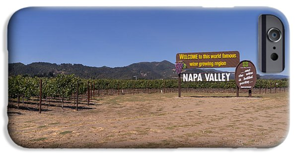 Vineyard In Napa iPhone Cases - Welcome To Napa Valley California DSC1682 iPhone Case by Wingsdomain Art and Photography
