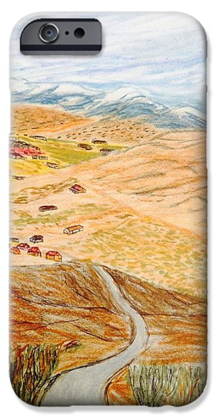 Snow-covered Landscape Drawings iPhone Cases - Welcome to PearBlossom iPhone Case by Christine Degyansky