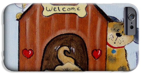 Doghouse iPhone Cases - Welcome to the Doghouse iPhone Case by Debra Campbell