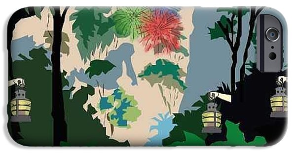 Fireworks Drawings iPhone Cases - Welcome to the Jungle iPhone Case by Megan Dotter