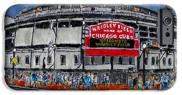 Wrigley Paintings iPhone Cases - Welcome to Wrigley Field iPhone Case by Phil Strang
