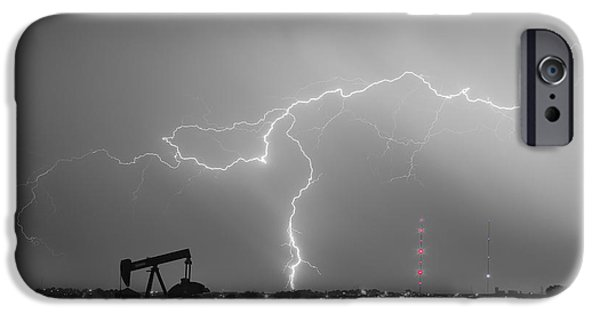 The Lightning Man iPhone Cases - Weld County Dacona Oil Fields Lightning Thunderstorm BWSC iPhone Case by James BO  Insogna