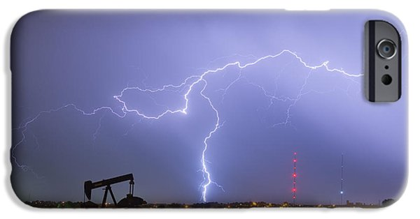The Lightning Man iPhone Cases - Weld County Dacona Oil Fields Lightning Thunderstorm iPhone Case by James BO  Insogna