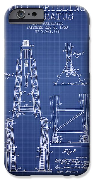 Industry iPhone Cases - Well Drilling Apparatus Patent from 1960 - Blueprint iPhone Case by Aged Pixel