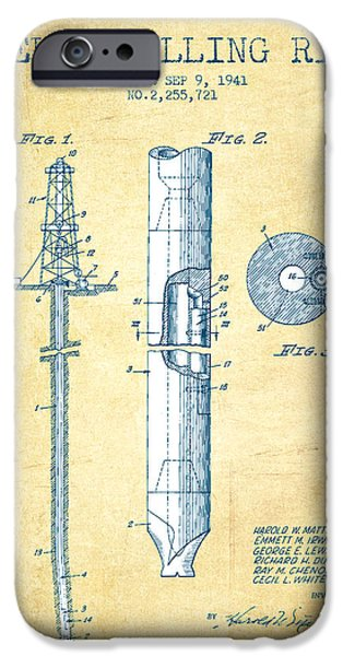 Industry iPhone Cases - Well drilling rig Patent from 1941 - Vintage Paper iPhone Case by Aged Pixel