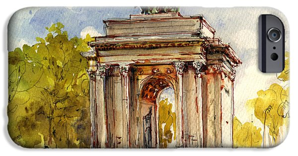 Brick Paintings iPhone Cases - Wellington Arch iPhone Case by Juan  Bosco