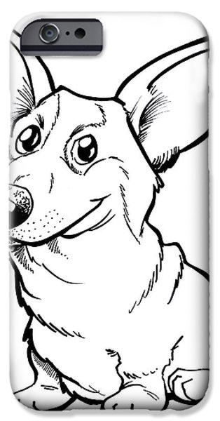 Owner Drawings iPhone Cases - Welsh Corgi iPhone Case by Big Mike Roate