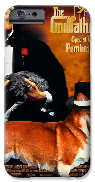 The Godfather Paintings iPhone Cases - Welsh Corgi Pembroke Art Canvas Print - The Godfather Movie Poster iPhone Case by Sandra Sij