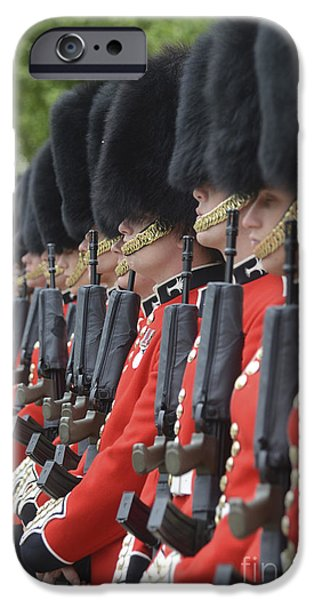 Well Dressed iPhone Cases - Welsh Guards Stand In Formation iPhone Case by Andrew Chittock