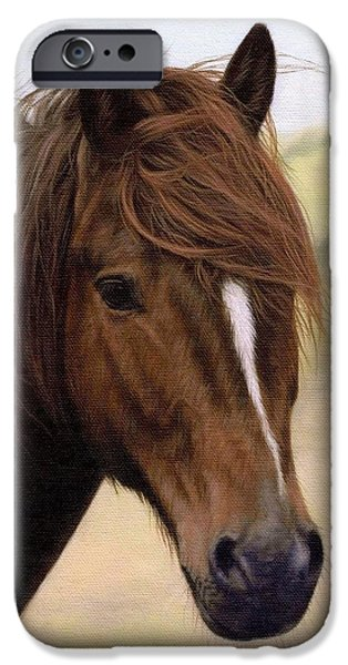 Pony iPhone Cases - Welsh Pony Painting iPhone Case by Rachel Stribbling
