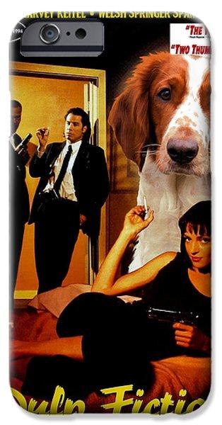 Springer Spaniel iPhone Cases - Welsh Springer Spaniel Art Canvas Print - Pulp Fiction Movie Poster iPhone Case by Sandra Sij