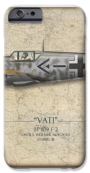 Werner Molders Messerschmitt Bf-109 - Map Background iPhone Case by Craig Tinder