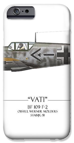 Werner Molders Messerschmitt Bf-109 - White Background iPhone Case by Craig Tinder