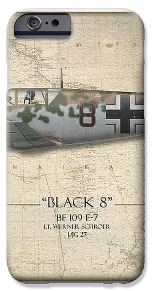 Werner Schroer Messerschmitt Bf-109 - Map Background iPhone Case by Craig Tinder