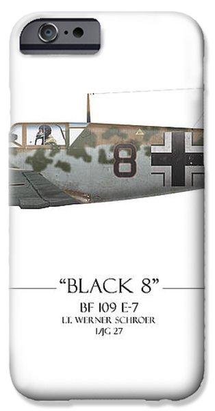 Werner Schroer Messerschmitt Bf-109 - White Background iPhone Case by Craig Tinder