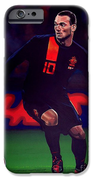 Brasil iPhone Cases - Wesley Sneijder  iPhone Case by Paul  Meijering