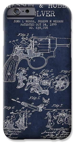 Weapon iPhone Cases - Wesson Hobbs Revolver Patent Drawing from 1899 - Blue iPhone Case by Aged Pixel
