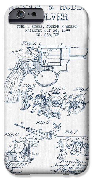 Weapon iPhone Cases - Wesson Hobbs Revolver Patent Drawing from 1899 -  Blue Ink iPhone Case by Aged Pixel
