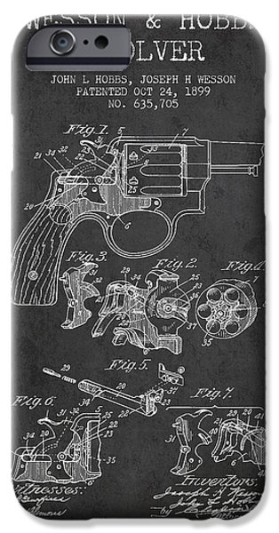 Weapon iPhone Cases - Wesson Hobbs Revolver Patent Drawing from 1899 - Dark iPhone Case by Aged Pixel