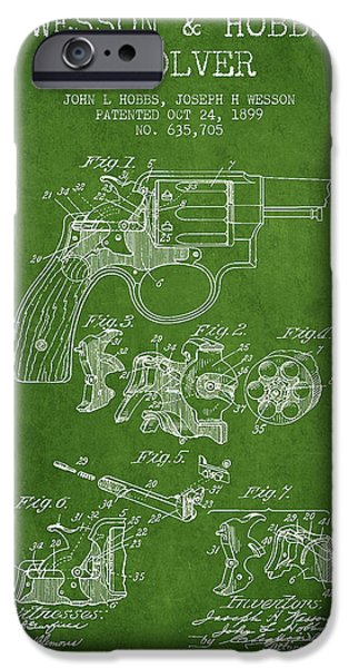 Weapon iPhone Cases - Wesson Hobbs Revolver Patent Drawing from 1899 - Green iPhone Case by Aged Pixel