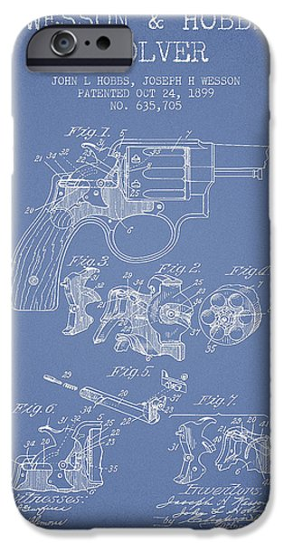 Weapon iPhone Cases - Wesson Hobbs Revolver Patent Drawing from 1899 - Light Blue iPhone Case by Aged Pixel