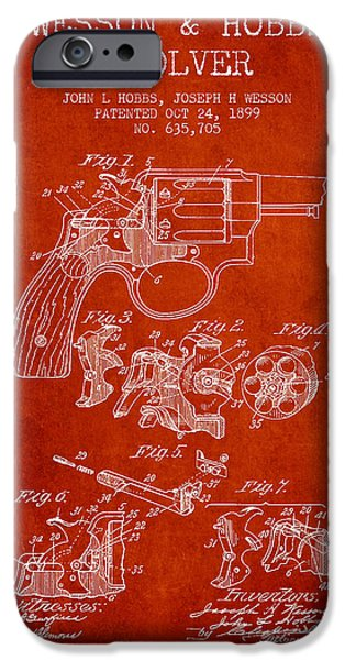 Weapon iPhone Cases - Wesson Hobbs Revolver Patent Drawing from 1899 - Red iPhone Case by Aged Pixel