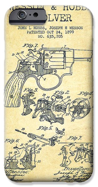Weapon iPhone Cases - Wesson Hobbs Revolver Patent Drawing from 1899 - Vintage iPhone Case by Aged Pixel