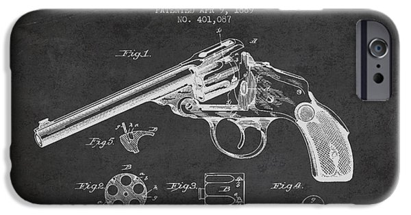 Weapon iPhone Cases - Wesson Revolver Patent Drawing from 1889 - Dark iPhone Case by Aged Pixel