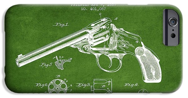 Weapon iPhone Cases - Wesson Revolver Patent Drawing from 1889 - Green iPhone Case by Aged Pixel