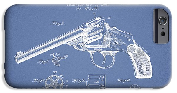 Weapon iPhone Cases - Wesson Revolver Patent Drawing from 1889 - Light Blue iPhone Case by Aged Pixel
