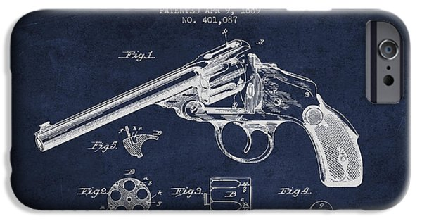 Weapon iPhone Cases - Wesson Revolver Patent Drawing from 1889 - Navy Blue iPhone Case by Aged Pixel
