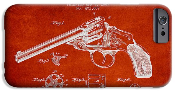 Weapon iPhone Cases - Wesson Revolver Patent Drawing from 1889 - Red iPhone Case by Aged Pixel