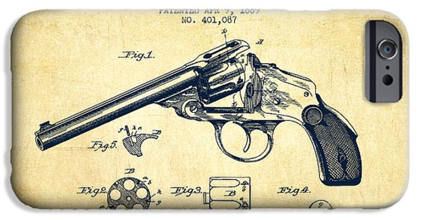 Weapon iPhone Cases - Wesson Revolver Patent Drawing from 1889 - Vintage iPhone Case by Aged Pixel