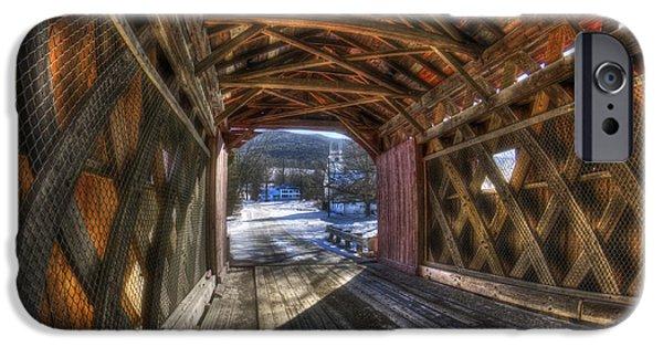 Snow Scene iPhone Cases - West Arlington Covered Bridge - Bennington Vermont iPhone Case by Joann Vitali