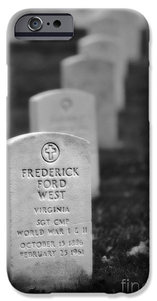 Soldiers National Cemetery Digital iPhone Cases - West at Rest bw iPhone Case by Jerry Fornarotto