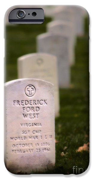 Soldiers National Cemetery Digital iPhone Cases - West at Rest iPhone Case by Jerry Fornarotto