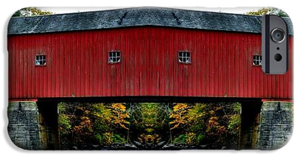 Covered Bridge iPhone Cases - West Cornwall Covered Bridge 11 iPhone Case by Ricardo Dominguez