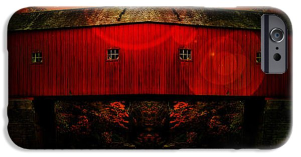 Covered Bridge iPhone Cases - West Cornwall Covered Bridge 12 iPhone Case by Ricardo Dominguez