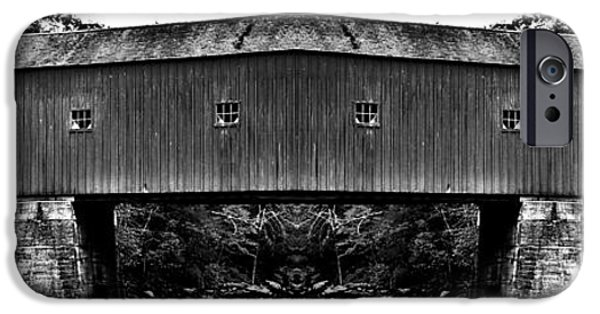 Covered Bridge iPhone Cases - West Cornwall Covered Bridge 13 iPhone Case by Ricardo Dominguez