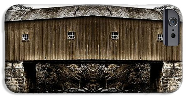 Covered Bridge iPhone Cases - West Cornwall Covered Bridge 14 iPhone Case by Ricardo Dominguez