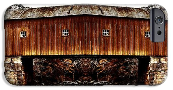Covered Bridge iPhone Cases - West Cornwall Covered Bridge 15 iPhone Case by Ricardo Dominguez