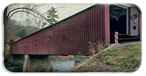 Covered Bridge iPhone Cases - West Cornwall Covered Bridge 3 iPhone Case by Joan Carroll
